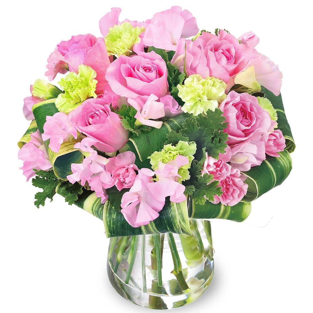 【フラワーバレンタイン特集】ピンクスイートピーのグラスブーケ 512338 |花キューピットの2019フラワーバレンタイン特集特集