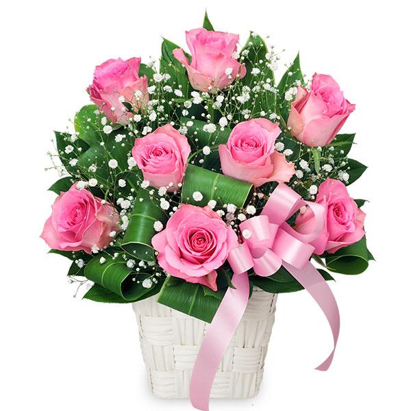 【誕生日フラワーギフト】ピンクバラのリボンアレンジメント