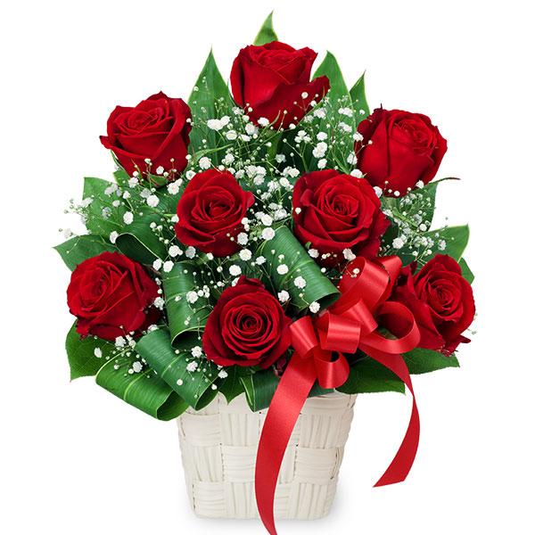 【誕生日フラワーギフト】赤バラのリボンアレンジメント
