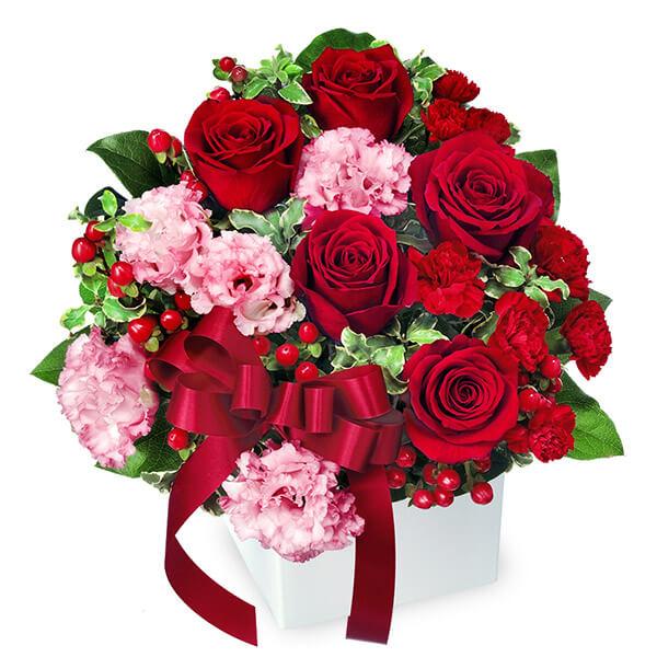 【誕生日フラワーギフト・バラ】赤バラとリボンのキューブアレンジメント