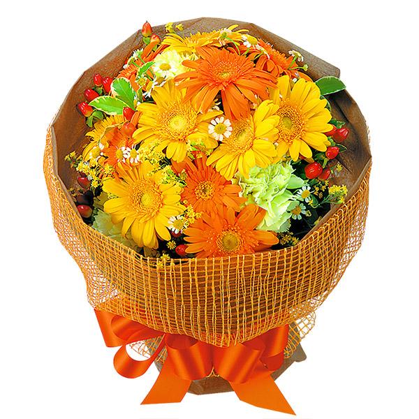 【誕生日フラワーギフト】イエローオレンジガーベラ花束