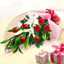 【花束(法人)】ユリとバラの花束