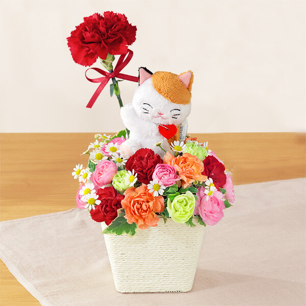 【母の日ギフト ランキング】三毛猫のマスコット付きアレンジメント