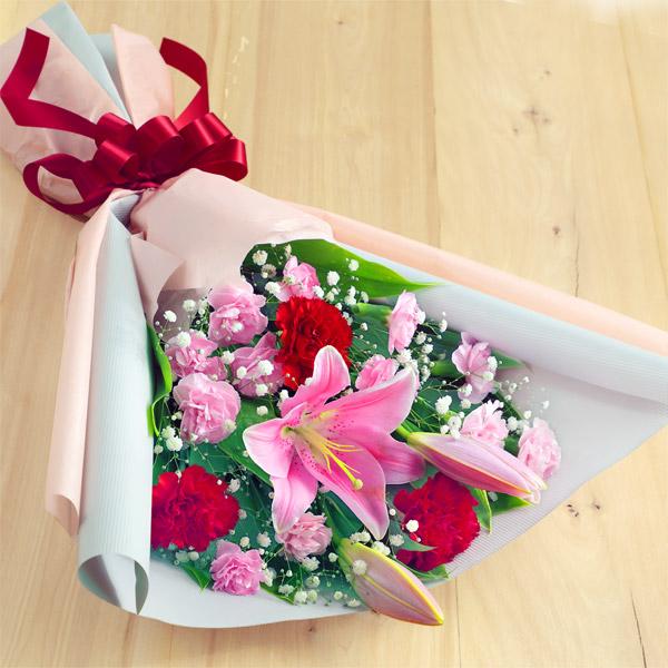 【母の日】ピンクユリの花束 521294 |花キューピットの2019母の日プレゼント特集