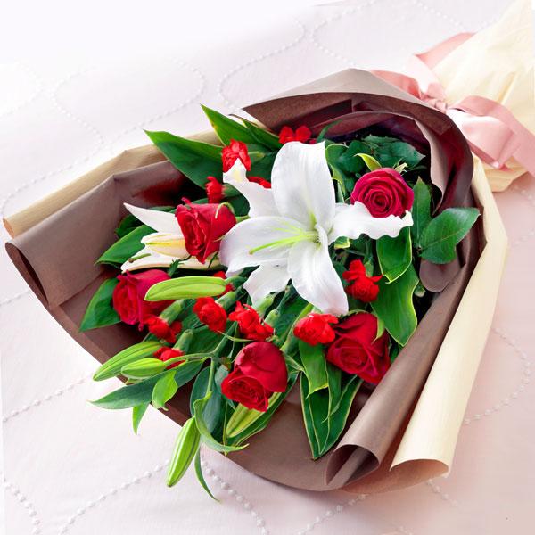 【母の日】ローズ&リリーの花束 521296 |花キューピットの2019母の日プレゼント特集