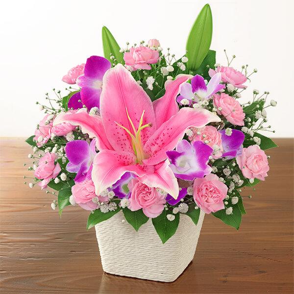 【母の日】ユリのバスケット) 521304 |花キューピットの母の日プレゼント特集2021