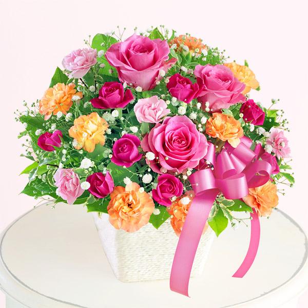 【母の日】ピンクリボンのアレンジメント 521305 |花キューピットの母の日プレゼント特集2020