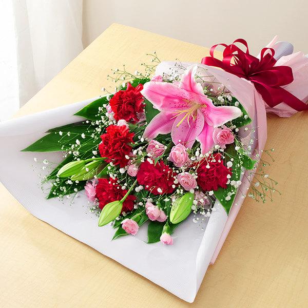 【母の日】ピンクユリの花束