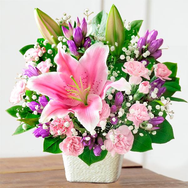 【敬老の日】ピンクユリのバスケット 522081 |花キューピットの敬老の日プレゼント特集2019