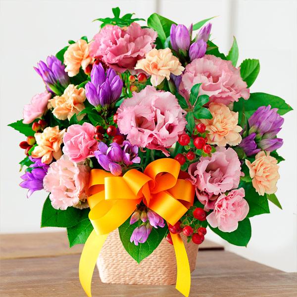 【敬老の日】オレンジリボンのアレンジメント 522082 |花キューピットの敬老の日プレゼント特集2019
