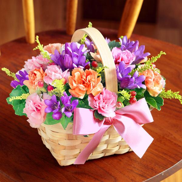 【敬老の日】リンドウのウッドバスケット 522088 |花キューピットの敬老の日プレゼント特集2020