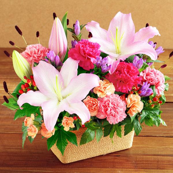 【敬老の日】ユリとリンドウの鮮やかアレンジメント 522089 |花キューピットの敬老の日プレゼント特集2020