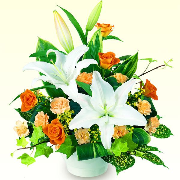 【誕生日フラワーギフト】白ユリのアレンジメント