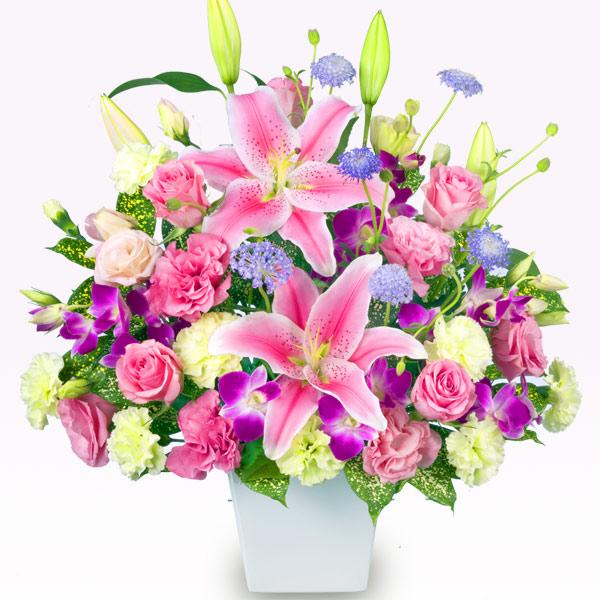 【誕生日フラワーギフト】ピンクユリのアレンジメント