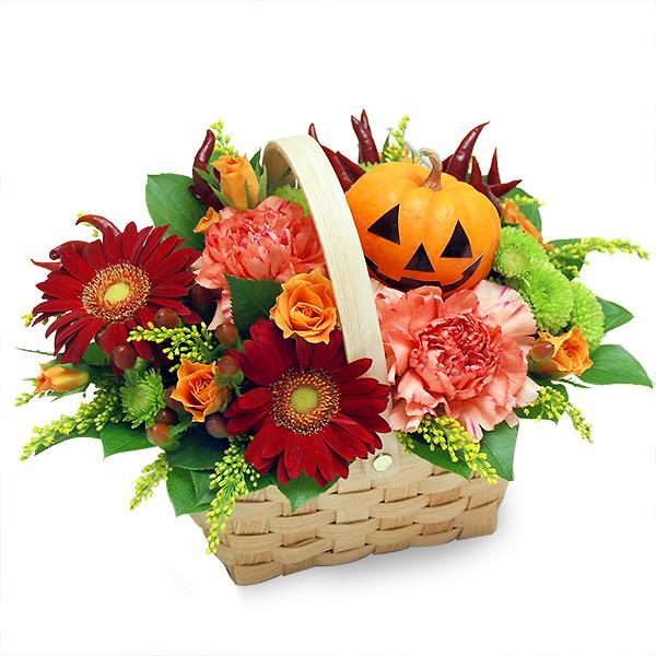 【秋の花贈り】ハロウィンバスケット 613072 |花キューピットの2019秋のお祝いプレゼント特集