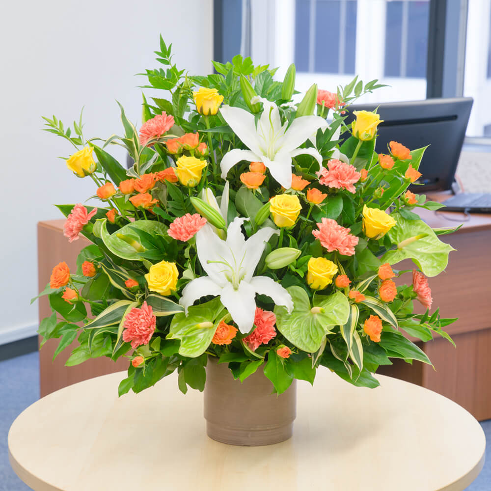 【お祝い(法人)】イエローとオレンジの華やかアレンジメント