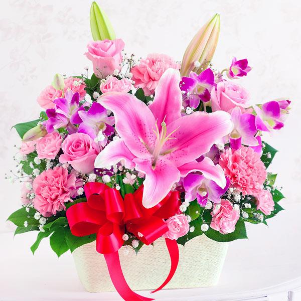 【母の日】ユリとバラのアレンジメント 613260 |花キューピットの2019母の日プレゼント特集