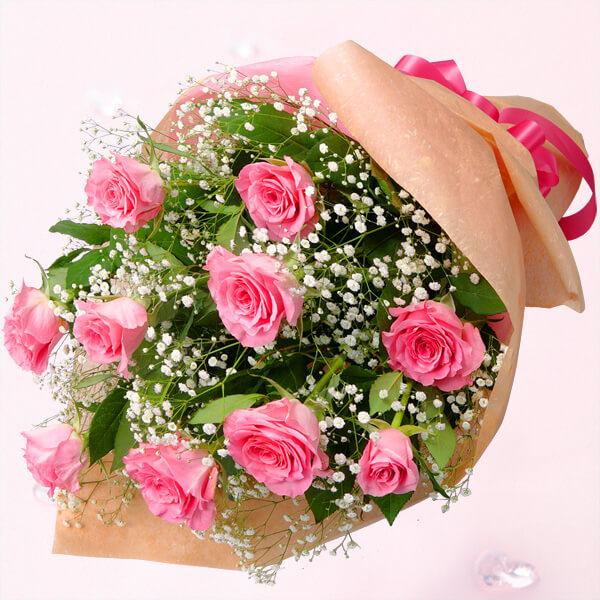 【秋のバラ特集】ピンクバラの花束 615028 |花キューピットの2019秋のバラ特集