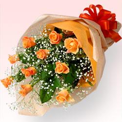 【秋のバラ特集】オレンジバラの花束 615029 |花キューピットの2019秋のバラ特集