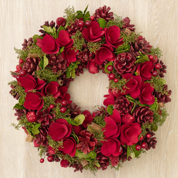 クリスマスリース レッド眠り&コーンM 711305 |花キューピットのクリスマスプレゼント特集2019