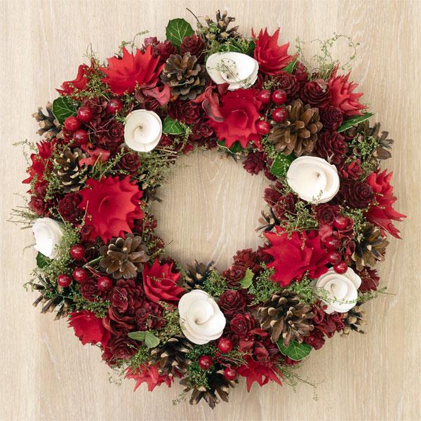 クリスマスリースレッド&ホワイト眠りコーンM 711306 |花キューピットのクリスマスプレゼント特集2019