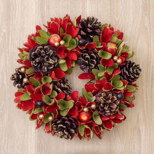 クリスマスリースレッド&グリーンシャトルアップルGラメS 711308 |花キューピットのクリスマスプレゼント特集2019
