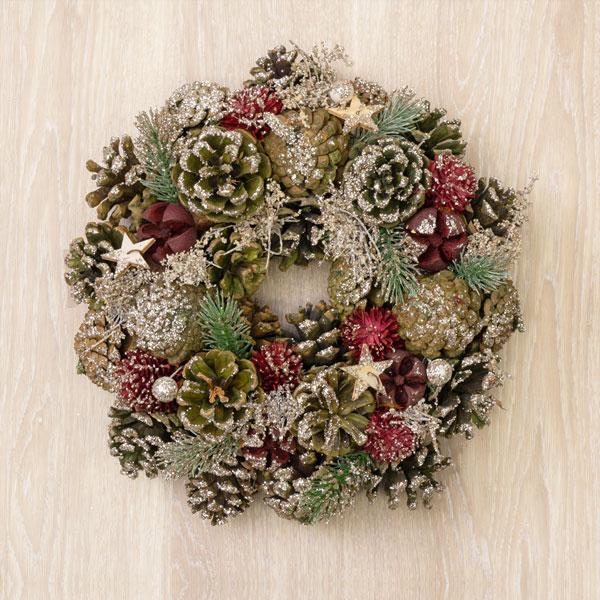 クリスマスリースグリーンウッドスターふわふわCラメS 711309 |花キューピットのクリスマスプレゼント特集2019