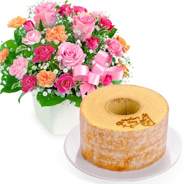 ピンクリボンのアレンジメントと【果子乃季】うさぎの森のこもれびバウム a63521257 |花キューピットの2019母の日セットギフト特集