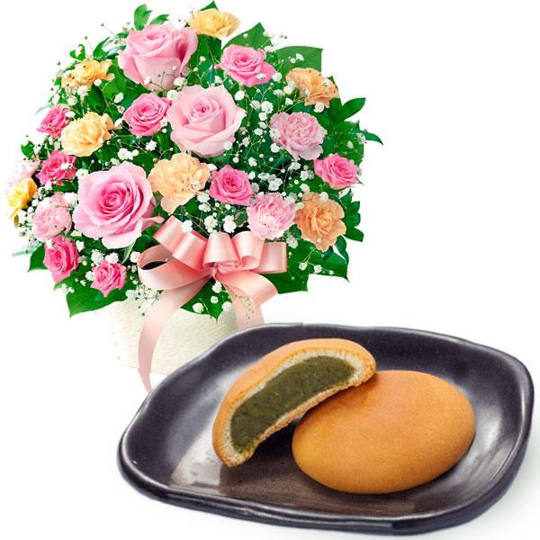 ピンクリボンのアレンジメントと【果子乃季】鳩子の海(濃茶)10個入 a65521257 |母の日プレゼント特集2019・5月12日