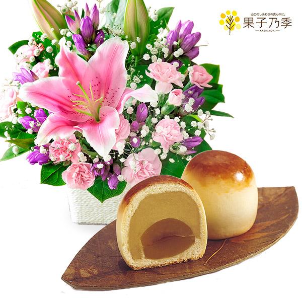 ピンクユリのバスケットと栗ほまれ 6個入り a75522081 |花キューピットの敬老の日 お花とセットの特集2020