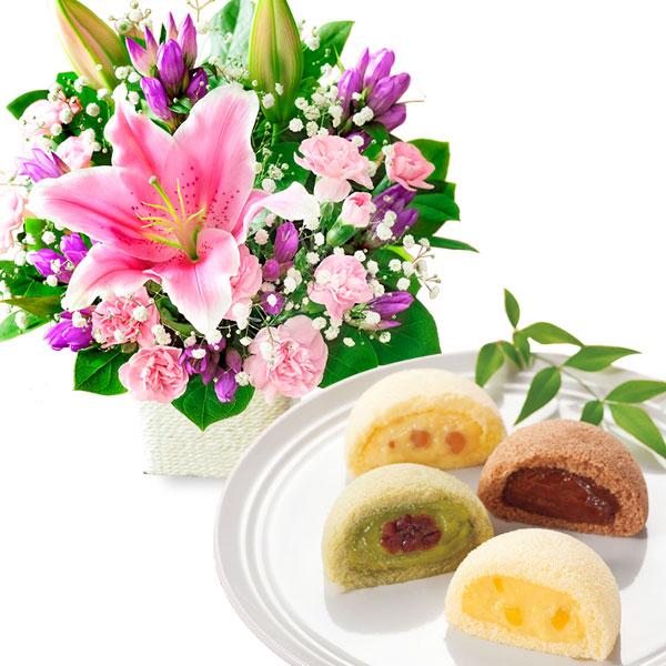 ピンクユリのバスケットと月でひろった卵 名月撰 8個入 a76522081 |花キューピットの2019敬老の日プレゼント特集