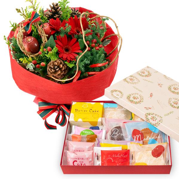 赤のブーケとガトー・ド・ボヤージュ 13種14個入 a77114010 |花キューピットのクリスマスプレゼント特集2019