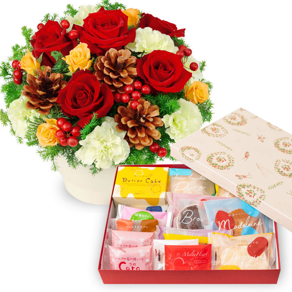 赤バラのウィンターアレンジメントとガトー・ド・ボヤージュ 13種14個入a77511087 |花キューピットのクリスマスセットギフト特集2019
