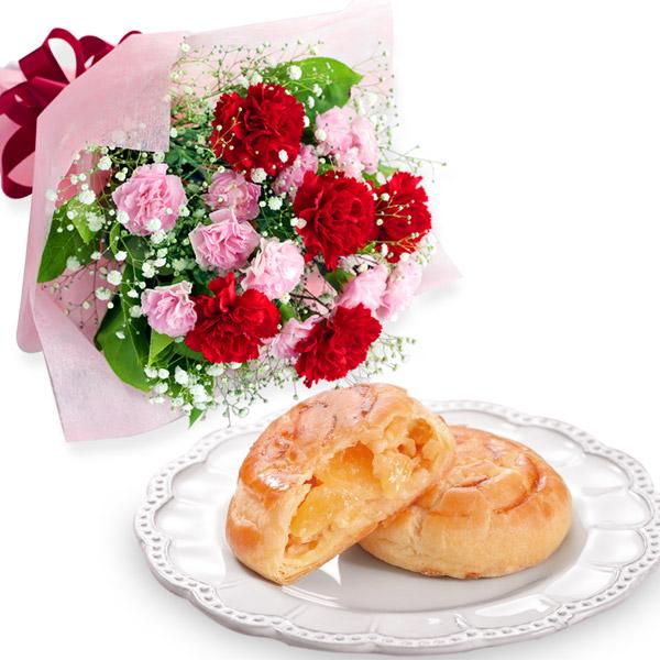カーネーションの花束とポム・ママン10個入 a78521269 |花キューピットの母の日 お花とセットの特集2020