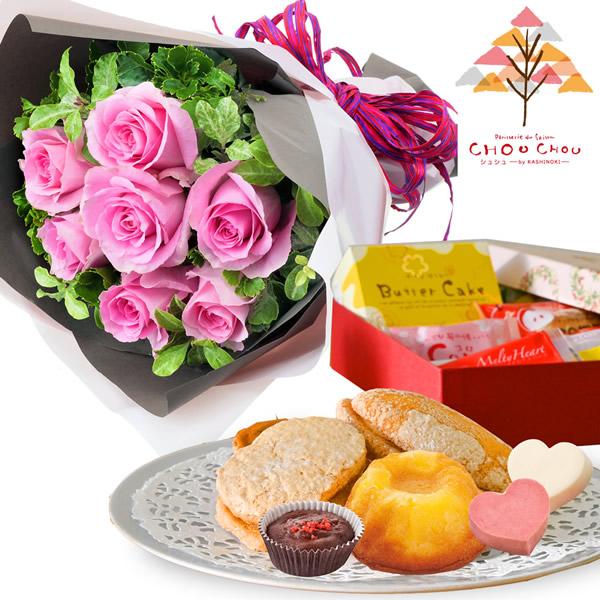 ピンクバラ7本の花束とガトー・ド・ボヤージュ a83512051 |2020クリスマスセット