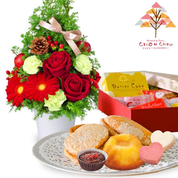 クリスマスのツリー風アレンジメントとガトー・ド・ボヤージュ  a83512068 |花キューピットの2020クリスマスセットギフト特集
