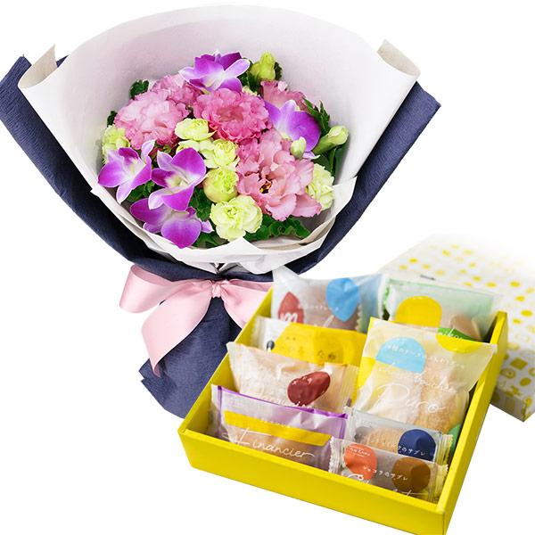 【お祝いセットギフト】ピンクデンファレのブーケと【果子乃季】スイートツリー8種8個入