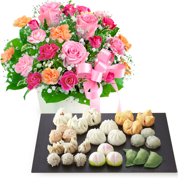【母の日】ピンクリボンのアレンジメントと本格広東料理店「桃花林」飲茶セット b03521257 |花キューピットの2019母の日プレゼント特集