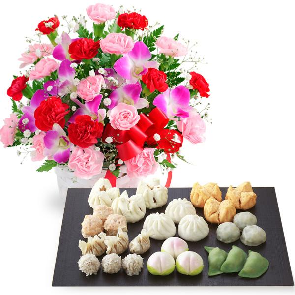カーネーションと赤リボンのバスケットと本格広東料理店「桃花林」飲茶セット b03521282 |花キューピットの2019母の日セットギフト特集
