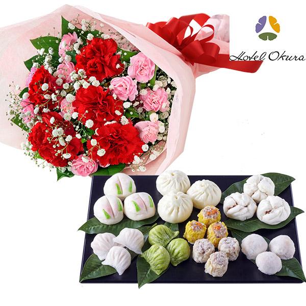 カーネーションの花束と【桃花林】中華点心セット b12521269 |花キューピットの母の日 お花とセットの特集2020