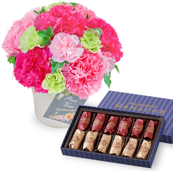【母の日】グラマラス(ピンク)と【ホテルオークラ】アーモンドガナッシュ b15521253 |花キューピットの2019母の日プレゼント特集