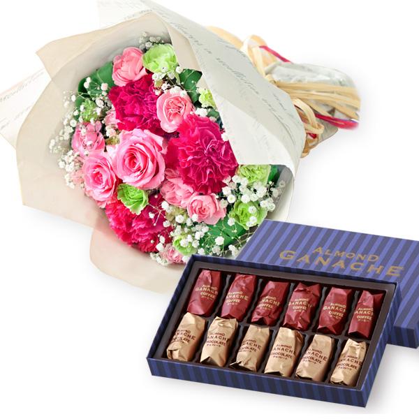 ティーブーケと【ホテルオークラ】アーモンドガナッシュ b15521295 |花キューピットの2019母の日セットギフト特集