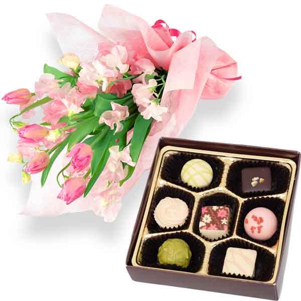 チューリップの花束とスプリングショコラ7個入 b17111014 |花キューピットの2020ホワイトデーセット