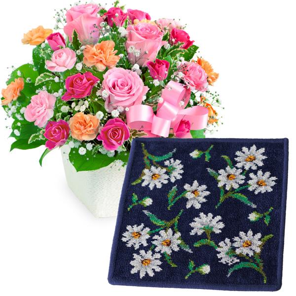 【母の日 ありがとうギフトセット】ピンクリボンのアレンジメントと【FEILER】ホワイトマーガレット ハンカチ