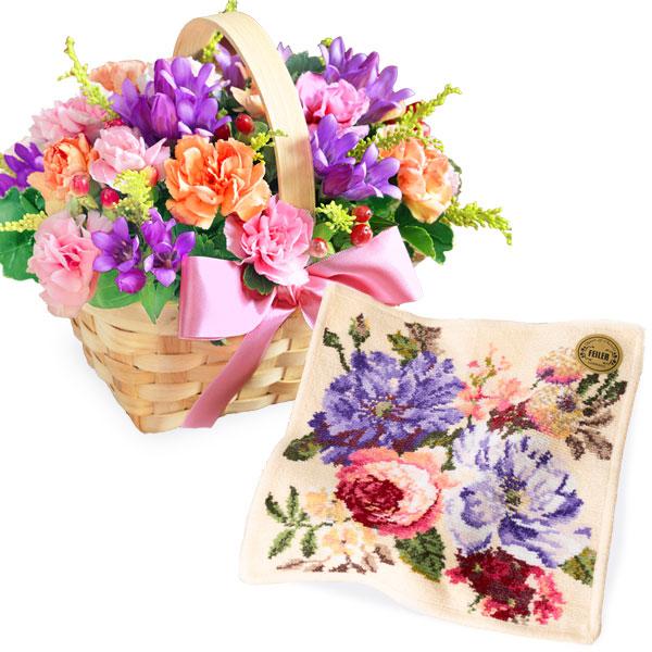 リンドウのウッドバスケットとフルラージュ ハンカチ c62522088 |花キューピットの2019敬老の日プレゼント特集