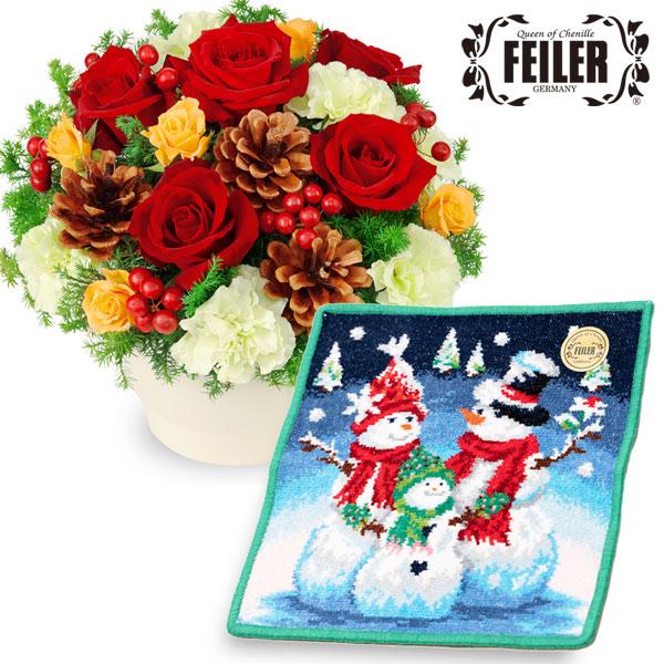 赤バラのウィンターアレンジメントと【フェイラー】シュネーマンファミーリエc63511087 |花キューピットの2019クリスマスセットギフト特集