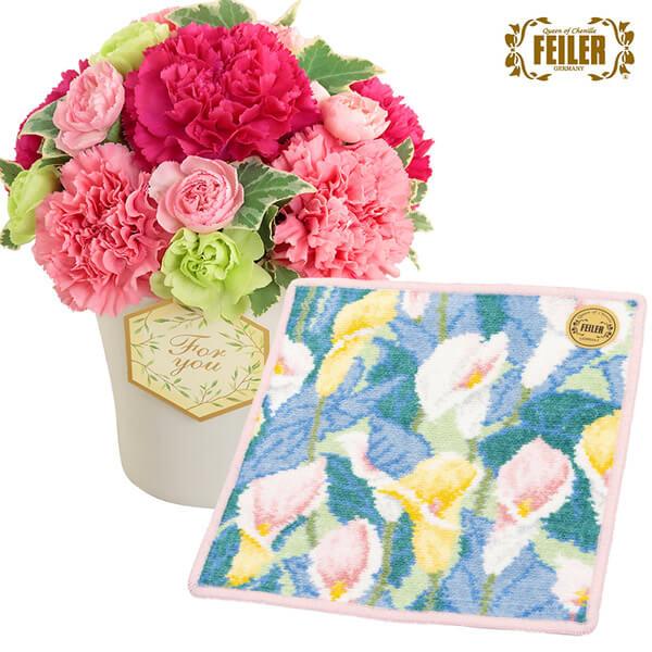 グラマラス(ピンク)と【フェイラー】フェリークカラー ハンカチ c67521253 |花キューピットの2021母の日セット