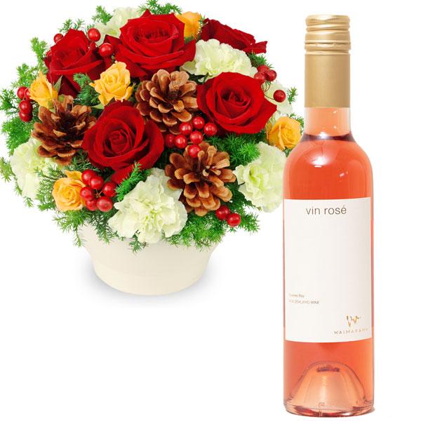 赤バラのウィンターアレンジメントとvin rose ハーフ d06511087 |花キューピットのクリスマスプレゼント特集2019