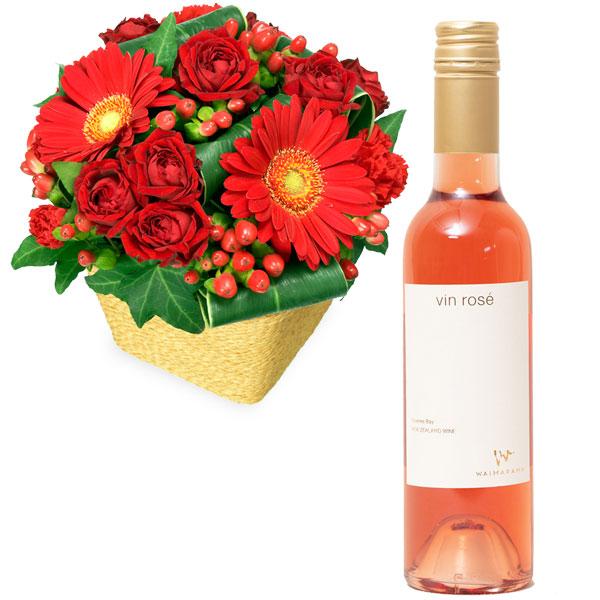 赤ガーベラと赤バラのアレンジメントとvin rose ハーフd06511507 |花キューピットの2019クリスマスセットギフト特集