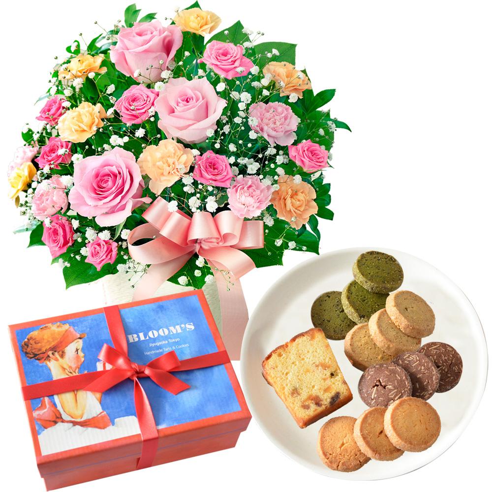 ピンクリボンのアレンジメントと【BLOOM'S】焼き果子 アニーボックス h02521257 |母の日プレゼント特集2019・5月12日